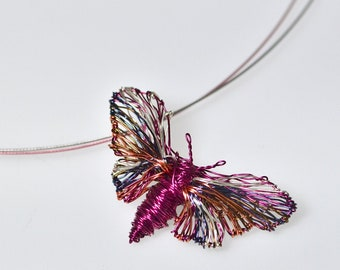 Butterfly art pendant Wire Butterfly pendant Butterfly necklace Butterfly jewelry Fuchsia necklace Rainbow jewelry Cute necklace gift