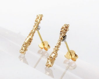 Ancient Greek, 14k gold ear climber, artsy earrings