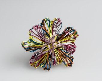 Flower brooch Metal flower brooch pin Abstract flower art jewelry Wire flower sculpture Rainbow flower pin Flower jewelry Cute pin Art gift