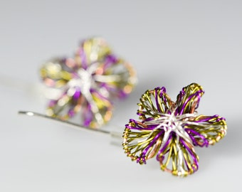 Purple Flower earrings studs Cute daisy earrings Wire wrapped Art earrings Long threader earrings Purple green daisy studs Elegant earrings