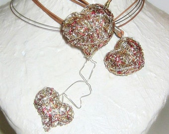 3 Hearts necklace, wire art, contemporary jewelry