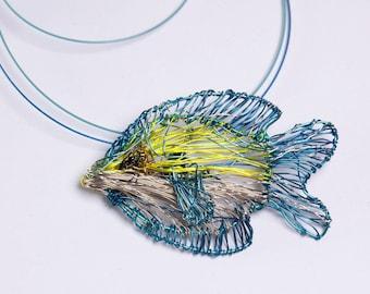 Light Blue fish necklace, Wire fish art jewelry, Sea animal pendant, Modern statement necklace unique