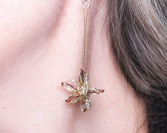 Gold flower earrings dangle - art earrings - modern drop earrings