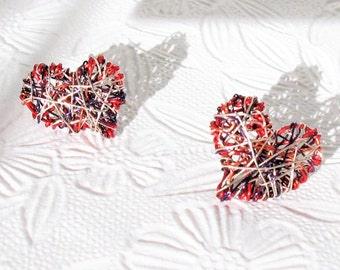 Red heart earrings stud, everyday, different, cute, post, wire heart earring handmade, modern hippie, Summer, unique graduation gift for her