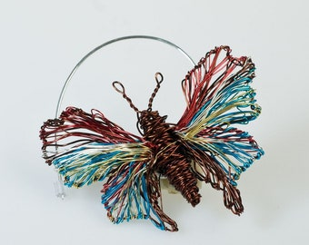 Brown Turquoise Butterfly Brooch Butterfly brooch pin Butterfly jewelry Unusual brooch Wire jewelry Insect jewelry Insect art Insect brooch