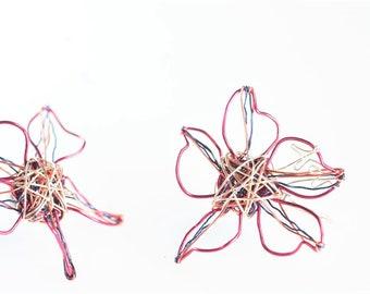 Fuchsia flower earrings, daisy, wire, threader, pink flower drop earrings, handmade, modern hippie jewelry,  Summer birthday teen girl gift