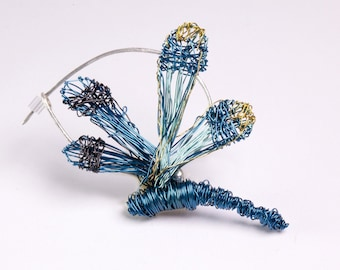 Blue dragonfly brooch, Small dragonfly pin, Wire wrapped dragonfly jewelry, Contemporary art jewelry