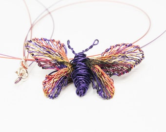 Dark purple butterfly necklace Deep purple jewelry Wire butterfly sculpture Insect Art necklace Unique pendant Modern hippie Art jewelry