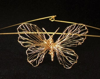 14k gold butterfly necklace hand made, wire sculpture art necklace fine jewelry