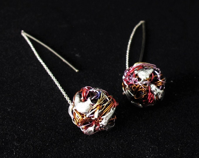 Featured listing image: Rainbow ball earrings thread, threader earrings, long chain drop earrings, pull through earrings, wire art jewelry, sister gift Christmas