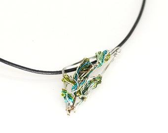Greek necklace, wire art, olive branch, triangle necklace statement
