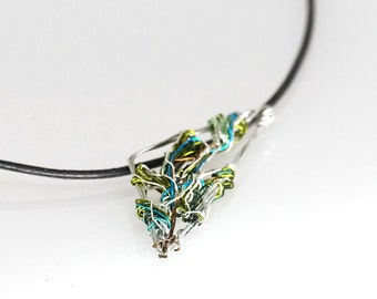Olive leaf necklace green, Olive branch art jewelry sculpture, Wire leaf jewelry, Greek necklace triangle