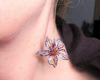 Blue flower earrings,  long drop flower art earrings