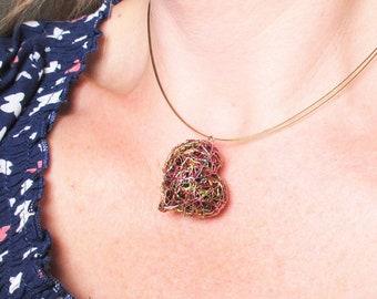 Wire heart sculpture art necklace