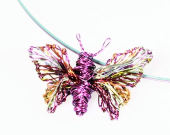 Purple - butterfly - necklace for girl - wire wrapped jewelry - colorful jewelry - art - insect necklace - Spring - Summer -birthday gift