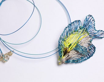 Tropical fish necklace, sculpture wire art