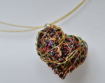 Gold heart necklace, wire heart art necklace, sculptural jewelry, cute heart necklace, unusual pendant, modern necklace, unique gift for her