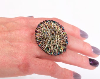 Circle ring silver, colorful wire art, trendy ring