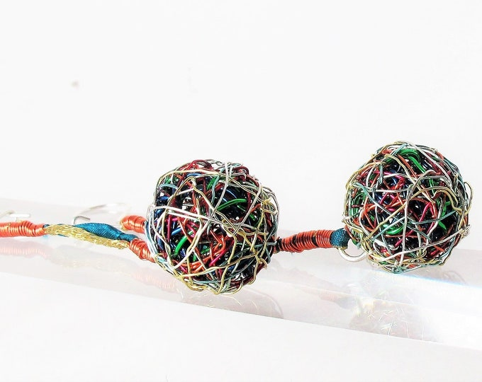 Featured listing image: Ball earrings drop - long ball drop earrings - sphere earrings - wire ball earrings