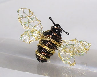 Bumble bee pin, honey bee brooch, cute, dress pin, black gold, insect, wire sculpture, modern art jewelry, unique Christmas gift for women