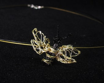 Honey bee necklace, one of a kind, wire art necklace, cute bee gifts for her