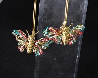 Gold butterfly earrings - art jewelry - wire sculpture - contemporary jewelry - romantic gifts for her