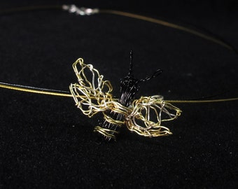Honey bee necklace - wire sculpture - insect art jewelry - bee pendant - contemporary jewelry - cute bee gifts for her