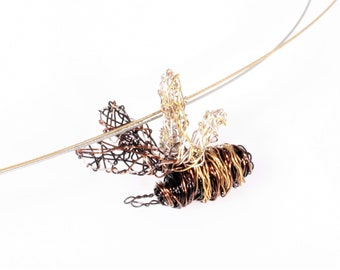 Honey bee necklace, wire bee sculpture art, statement jewelry