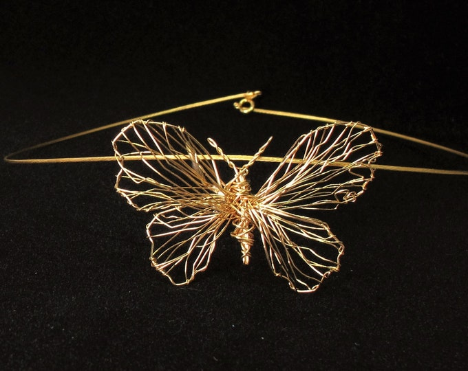 Featured listing image: 14k gold necklace, gold butterfly necklace, big gold pendant, fine jewelry, wire sculpture art modern jewelry, anniversary gift for wife