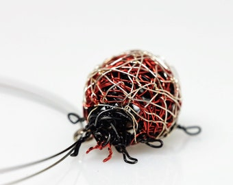 Ladybug necklace Ladybug pendant Wire animal sculpture Art necklace Ladybird necklace Insect jewelry Red necklace Modern Whimsical jewelry