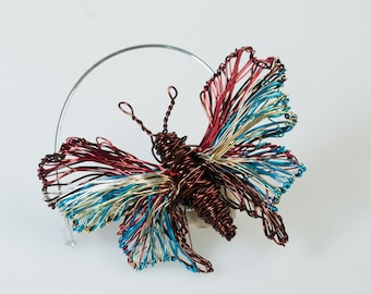 Insect art Butterfly wire brooch, Brown turquoise jewelry, Unusual Insect jewelry