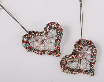Rainbow Heart earrings dangle Silver heart drop earrings Wire wrapped heart Art earrings long Modern hippie Unusual earrings Unique gifts