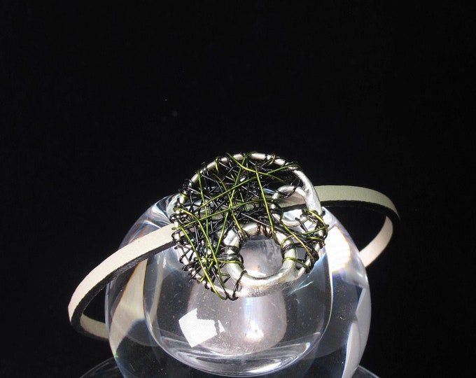 Featured listing image: Lucky charm - circle bracelet - green bracelet - 2020 lucky bracelet - modern minimalist -  art jewelry - unisex Christmas gifts