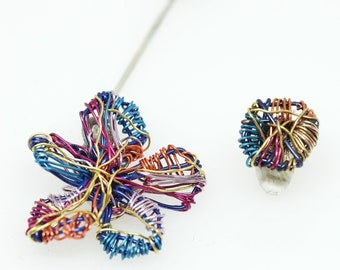 Colorful flower statement earrings, wire art flower earrings hand made
