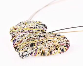 Black heart necklace, silver gold heart pendant, cute, wire heart necklace, modern boho, art handmade jewelry, Summer, sister birthday gift