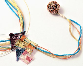 Modern statement necklace, home necklace, convertible, long layered necklace, colorful, wire, funny, house jewelry, hippie Summer gift women