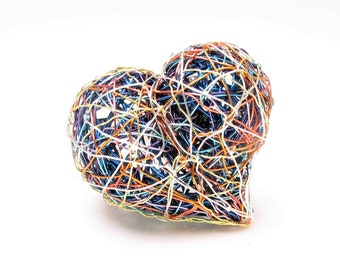 Blue heart ring - modern art ring -  wire heart ring - large ring