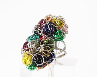 Rainbow ring - abstract flower ring - wire art jewelry - big ring - unusual rings - contemporary jewelry