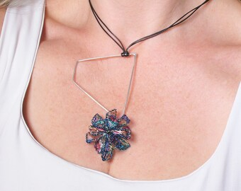 Geometric flower pendant, Wire flower sculpture contemporary art jewelry, Interchangeable flower necklace