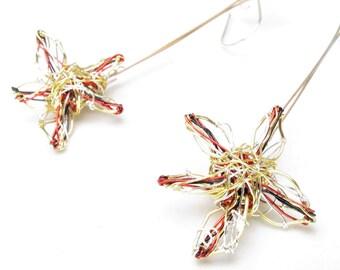 Gold flower earrings dangle, long drop, wire art, daisy earrings, modern, contemporary, handmade jewelry, unique Christmas gift for women