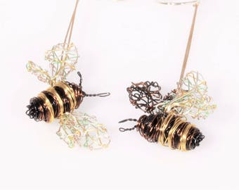 Bee earrings, black gold, wire art, dangle drop, long, different, honey bee earrings, hippie, Summer, insect jewelry, sister birthday gift