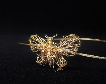 14k gold butterfly necklace - wire art sculpture - contemporary jewelry - yellow gold necklace - fine jewelry