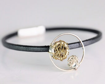 Silver circle bracelet leather, wire art bracelet unisex, art lover gift