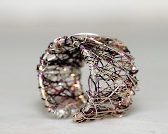 Silver band ring, sculpture wire, art jewelry