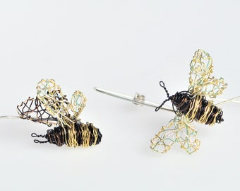 Bee earrings, wire, different, black gold, long hoop earring, boho chic, unusual, insect art jewelry, Winter, unique birthday gift for women