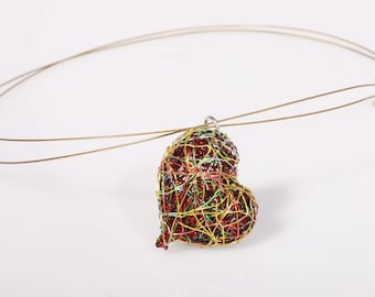 Art heart necklace Wire heart sculpture art necklace Colorful heart pendant Red heart necklace Modern necklace Unusual jewelry