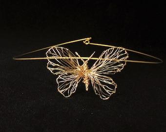 Wire art, 14k gold butterfly necklace statement, wearable art jewelry