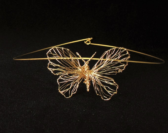 Featured listing image: Wire art, 14k gold butterfly necklace statement, wearable art jewelry