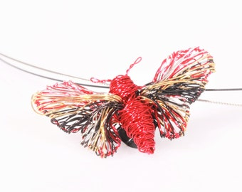 Butterfly necklace for girl, red gold, wire wrapped pendant, modern, insect, cute, art necklace, Summer gift, unique birthday gift women