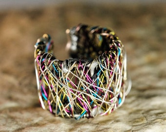 Rainbow band ring Wire sculpture ring Art ring Wide silver ring adjustable Statement ring Unusual rings Unique rings for her Modern hippie